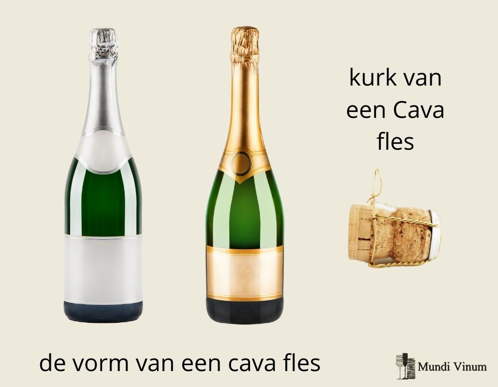 de vorm van een cava fles en de kurk